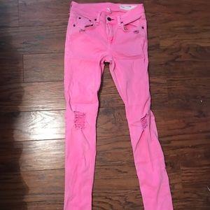 rag & bone Jeans - Neon Pink Rag & Bone Distressed Skinny Jeans.